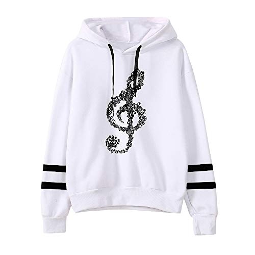 Millenniums Sweats à Capuche Notes de Musique Pulls Streetwear Spotlight Chic Cool Street Fashion Sweat Mode Femmes Hiver Sweat-Shirt Survêtement (Noir, M,40)
