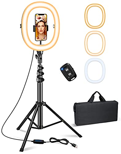 """Bcway 10.2"""" Ring Light with Stand, Selfie Ring Light with 50"""" Tripod Stand and Carrying Bag, Portable Foldable Led Ringlight, 3 Color Modes, Bluetooth Control, for Photography/Makeup/Vlog/Live Stream"""