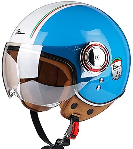DXMRWJ Adultos Motocicleta Half-Helmet Scooter Jet Casco Hombres Y Mujeres Vintage Casco...
