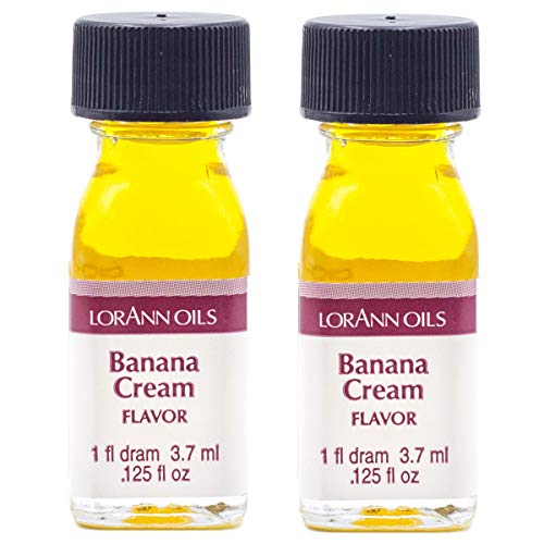 LorAnn Banana Cream Super Strength Flavor, 1 dram bottle (.0125 fl oz - 3.7ml)- 2 pack