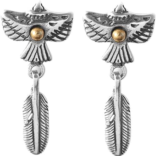 ZiFei Pendientes de Plumas de Águila Voladora, Retro de Plata Esterlina para Hombre Pendientes de Pareja Personalizados para Hombres y Mujeres