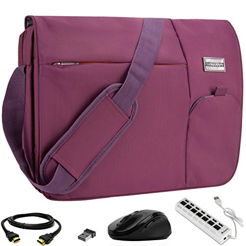 VanGoddy Orchid Purple Executive Anti-Theft Laptop Messenger Bag w/ 3PC Accessory Bundle for Samsung NoteBook Series / ChromeBook / TabPro S / Galaxy Book / 11' to 15inch