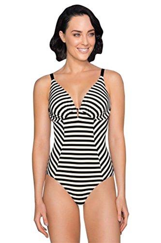 Jets Australia Profile E/F Cup Underwire V-Neck One Piece Swimsuit Size AUS 12 (US 8) Black