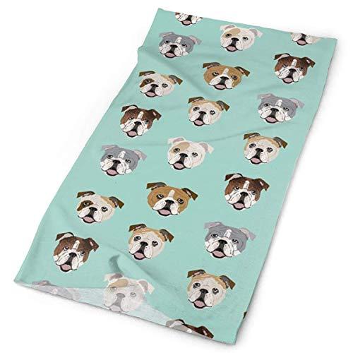 Zome Lag halsdoek, halsdoek, hoofdband, English Bulldog Dog Face, mintgroen, veelzijdig inzetbaar, sporthoed, winddicht, stofbescherming