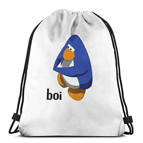 IUBBKI Club Penguin BOI Mochila Deportiva Plegable Impermeable Bolsa de Gimnasio Saco Mochila con cordón