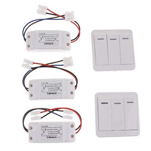 IPOTCH Interruptor Inalámbrico de 3 Vías con Receptor/Control Remoto, Creación Rápida de Cableado de Encendido/Apagado, 65x37x22 Mm