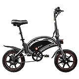 DYU D3F Bicicleta Eléctrica Plegable, hasta 20 Km/h, Bateria de Litio 10Ah, duración de 40 Km, 14 Pulgadas Bici Electrica con Pedales para Adulto Unisex