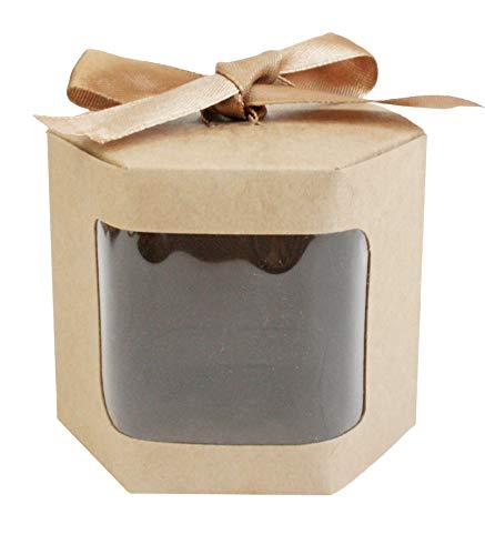 Emartbuy Starkes Papier Aufstehen Hexagon-Geschenk-Tasche, 10 cm x 10 cm x 12 cm, Braune Kraft Tasche Kuchen-Plätzchen-Muffin-Torten-Kasten mit Klarem Fenster und Band - Packung mit 24 Stück