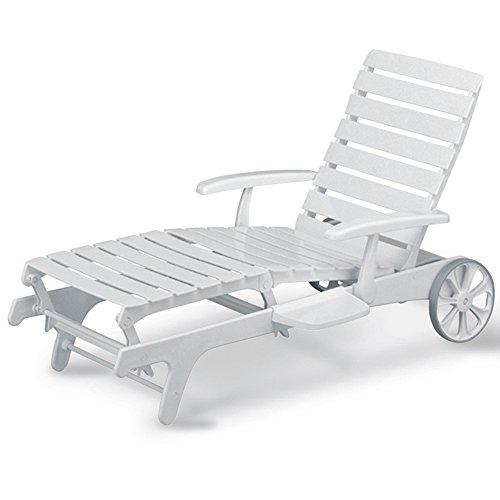 Kettler Tiffany - Sedia con schienale alto, 16 posizioni, colore: Bianco, Infradito colorati estivi, con finte perline, 36 Position Chaise Lounge (White)