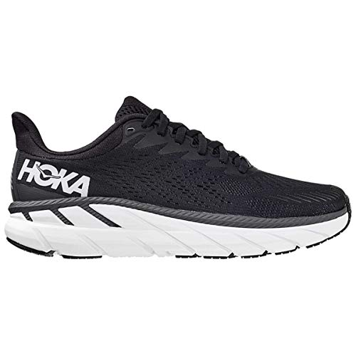 Hoka One One Mujer Clifton 7 Wide Textile Synthetic Black White Entrenadores 42 EU