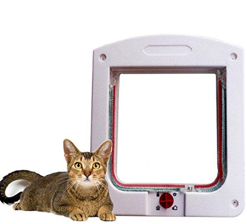 1X Toruiwa Katzenklappe Hundeklappe mit 4-Wege Schließsystem Hundetür Katzentür Freilauftür mit Teleskoprahmen für Mittlerer kleiner Haustier Hunde Katze 24.5*20.3*3cm weiß