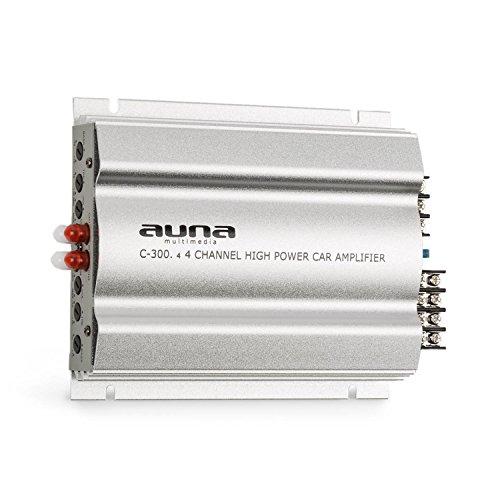 auna C300.4 Auto Verstärker 4-Kanal Auto-Endstufe Car Amplifier (4 x 100 Watt RMS, regelbarer 2-Band-Equalizer, 20 Hz-20 kHz Frequenzbereich) Silber