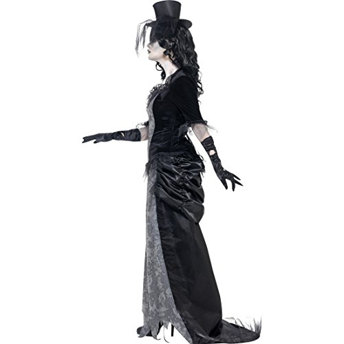Amakando Disfraz de Witwe negro para mujer, disfraz de Halloween, talla L 44/46, gtico, zombi, fantasma, carnaval, Halloween, disfraz de terror, disfraz de fantasma, disfraz de carnaval