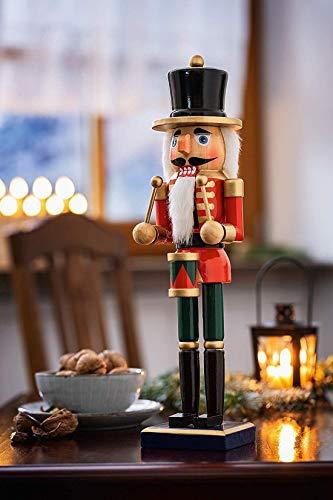 Nussknacker Trommler aus Holz, rot, 36 cm, Adventsdeko, Weihnachtsdeko, Deko-Figur