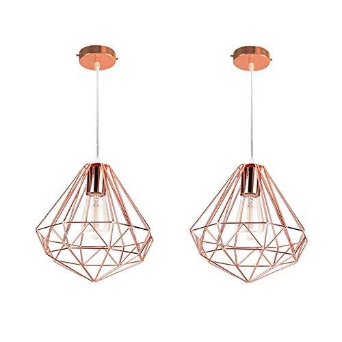 2x Retro Hängeleuchte Industrial Diamant Prismatische Lampenschirm-Roségold Ø26 cm,Vintage Pendelleuchte Lampe Deckenleuchte Dekoration Leuchte