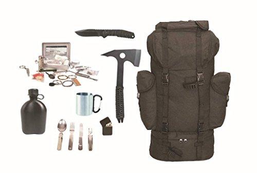 AOS-Outdoor Survival Set Black BW Kampfrucksack schwarz + Survival Kit + Zubehör Messer Beil etc.