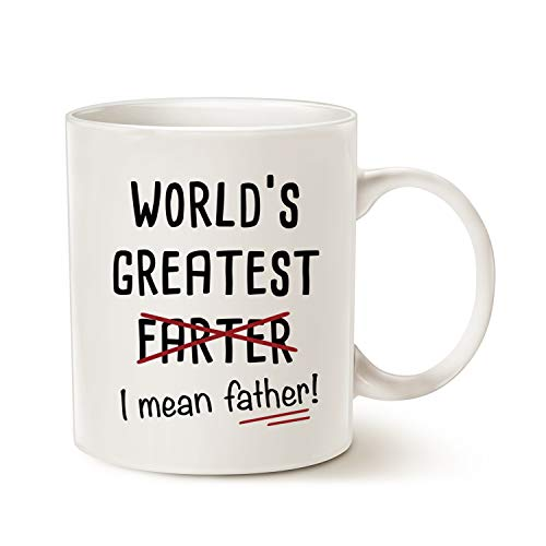 MAUAG Fathers Day Gifts Funny Best Dad Coffee Mug, World's Greatest F, I Mean Father, Best Cute Birthday Gifts for Dad Cup White, 11 Oz