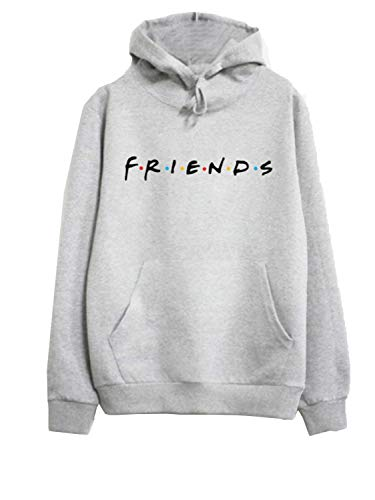 CHOiES record your inspired fashion Womens Loose Friends Hoodie Cotton Blend TV Show Hooded Sweashirt Pullover Tops (Large, Gray)