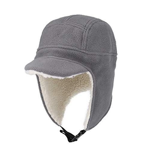 Connectyle Unisex Fleece Windproof Hat with Visor Warm Winter Hat with Earflap Skull Ski Cap for Men Grey
