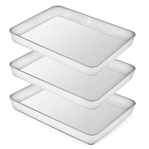 Rectangular Baking Pan Lasagna Pan Set of 3, Deedro 16 Inch Rectangular Cake Pan Stainless Steel Brownie Pan, Deep Baking Pans for Toaster Oven, Healthy & Durable, Brushed Finish & Dishwasher Safe