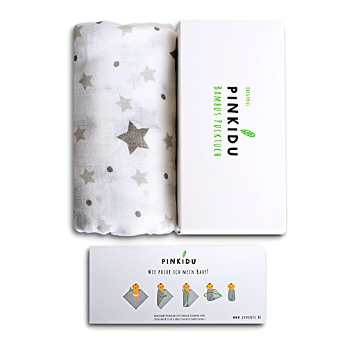 Pinkidu® Bambus Pucktuch,Premium Qualität,Baumwolle Bambus,120x120cm Motiv Stern