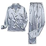 Pijama de satén de seda de las mujeres conjunto dormir dos piezas muebles para el hogar más tamaño azul gris 3XL