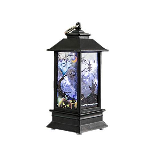 Yanhonin Halloween-Lampe, Farbton Kürbis Vintage, LED, hängendes Windlicht, tragbar, Partyartikel Multi-Color