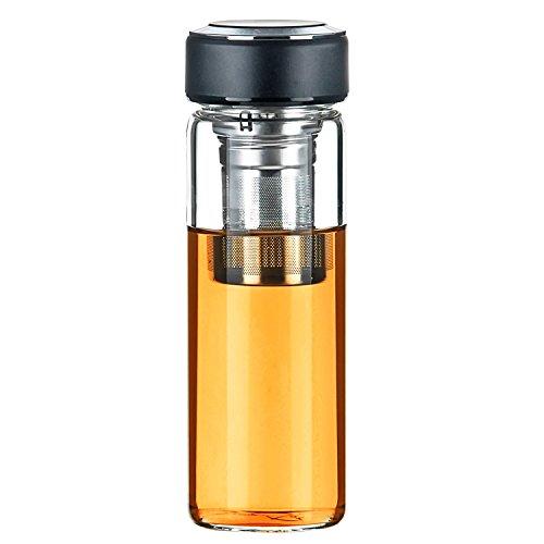 Justfwater Teiere con Infusore Bottiglia da Tè Filtro e Infusi di Frutta di Vetro