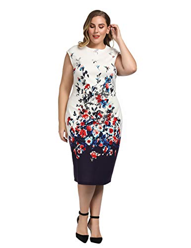 Chicwe Women's Plus Size Cap Sleeves Stretch Floral Printed Shift Dress - Knee Length