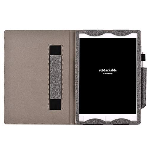 KuRoKo Premium PU Leather Case Cover with Hand Strap, Pen Holder for Remarkable Digital Paper (Grey)