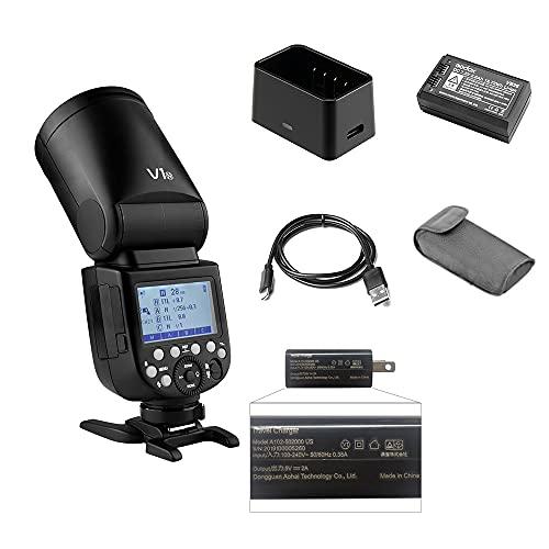 Godox V1N フラッシュ カメラフラッシュ TTLラウンドヘッドフラッシュ 2.4G 480秒フルパワーフラッシュ 充...