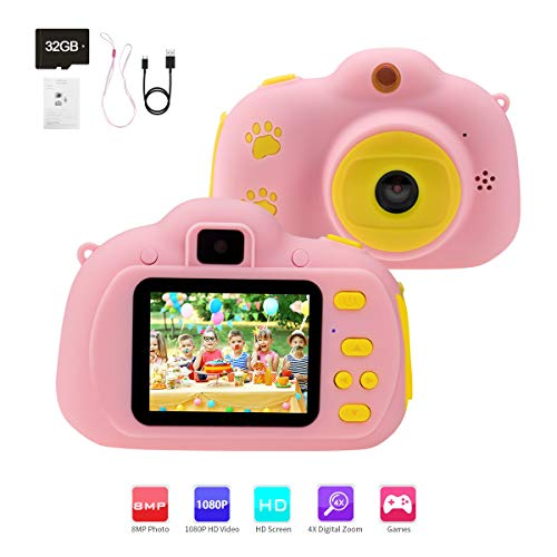 """Rodzon Kids Toys Video Camera, Children's Toys Camcorder Digital Cameras with 2.0"""" IPS Screen HD 1080P, Best Birthday Gifts for 3-10 Year Old Boys Girls, Including 32GB SD Card"""