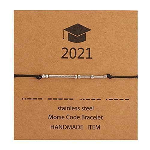 Holibanna Pulseira de formatura de aço inoxidável Morse Code Inspirador 2021 Presentes de formatura para seus melhores amigos