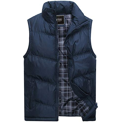 Flygo Men's Stylish Cotton Padded Vest Quilted Lightweight Down Puffer Jacket Coat (Blue, Large)