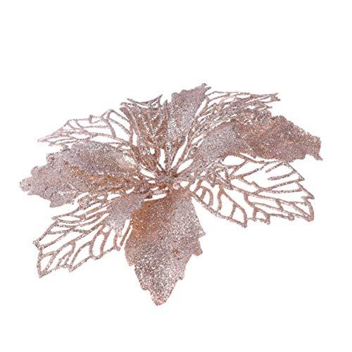 STOBOK 12 stücke Glitter weihnachtsstern künstliche weihnachtsstern künstliche Blume weihnachtsbaumschmuck Ornamente (Champagner)