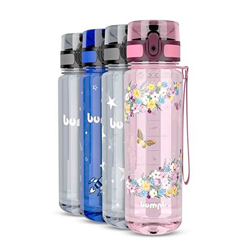 bumpli® Kinder Trinkflasche mit Blumen-Motiv - auslaufsicher & kohlensäure geeignet - BPA-Freie Kindertrinkflasche mit Fruchteinsatz - Perfekt für Schule, Kindergarten, Sport - 500ml