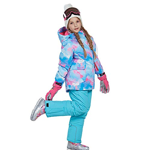 HJG Kid's Waterdichte Ski Jassen Broek Set Winddicht Meisjes Snowboard Jakets Kleurrijke Bedrukte Sneeuwpak, G, 158/164