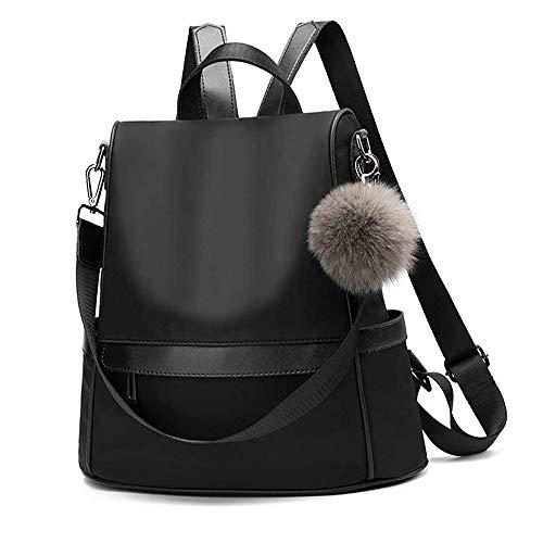 Women Backpack Purse Nylon Anti-theft Fashion Casual Lightweight Travel School Shoulder Bag(Black)