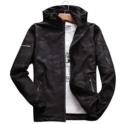 Loeay Hommes Casual Sweat À Capuche Veste Imperméable Coupe-Vent Manteau Chaud Camouflage À Capuche Camo Vêtements Hommes Manteau Coupe-Vent Manteau Mâle Outwear Noir 3XL