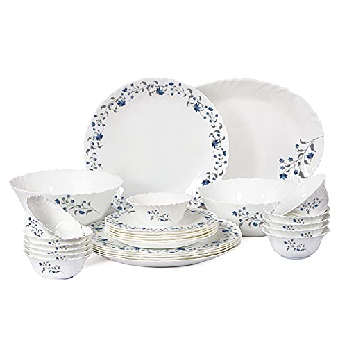 Cello Imperial Vinea Opalware Dinner Set, 11 inch Full Plate, 27 Pieces, White