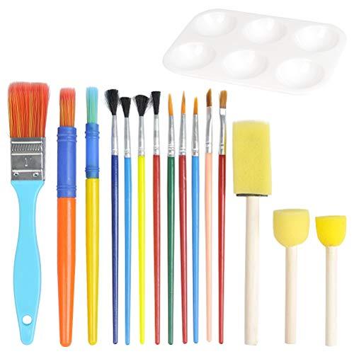 JAOMON Juego de Pinceles de Pintura Artística de 16 Piezas, Kit para Principiantes para Niños que Incluye: Pinceles, Esponja y Paleta para óleo, Acuarelas