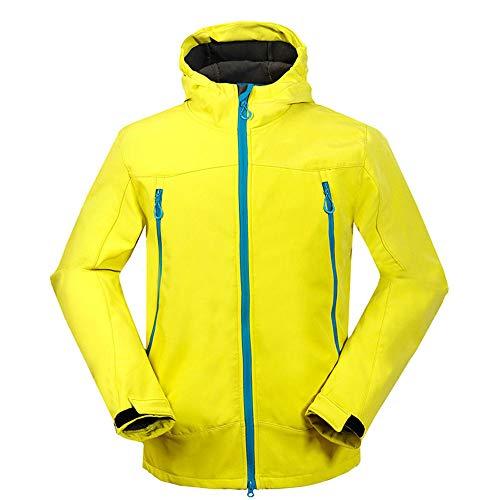 Starry sky Herren-Jacke, warme Winter Ski-Jacke wasserdicht, Winddichte Jacke mit Kapuze Reißverschlusstasche,Yellow,L
