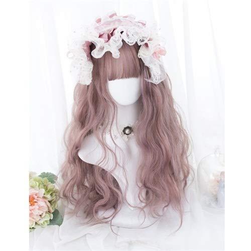 Perruque Femmes Cosplay Lolita Long Femmes Noir Naturel Marron Gris Rose Fringe Parti Curly la perruque de cheveux synthétiques Postiches (Color : Mixed Pink, Stretched Length : 20inches)
