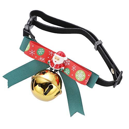 PRETYZOOM Collares de Navidad para gatos con temática navideña, cuello ajustable para perro, gato, pajarita con campana, talla S, estilo 1