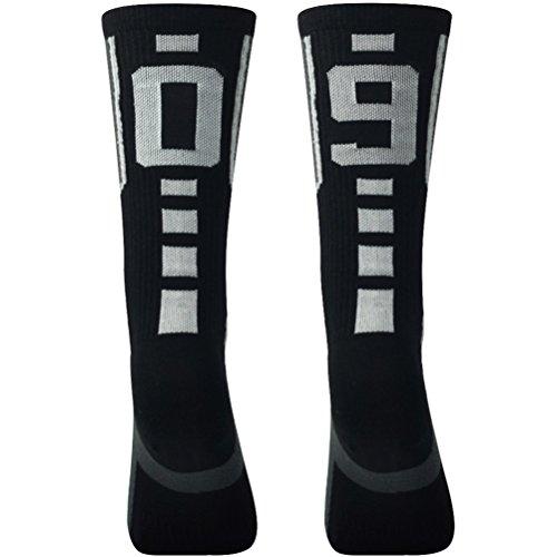 "Black/Grey Custom Number Crew Soccer Socks Over 18 Ages Comifun Basketball Football Socks 1 Pack,""09""""90"""