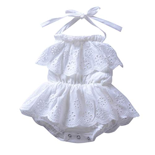 Borlai mode baby meisjes mode leuke mouwen ruches wit strampers