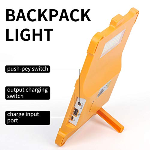 FISHNU Led Solar Backpack Lights, Solar Rechargeable Power Bank,4 Modes Multi-Function Outdoor Work Light, Solar Charger for Phones iPad in Camping and Emergency