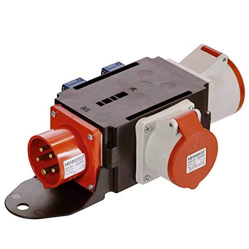 as - Schwabe MIXO Adapter / Stromverteiler DONAU – CEE-Stecker auf 2 CEE-Steckdosen (32 A / 16 A) und 2 Schuko Steckdosen – Robuster Baustellen Starkstrom-Verteiler – IP44 – Made in Germany I 60522