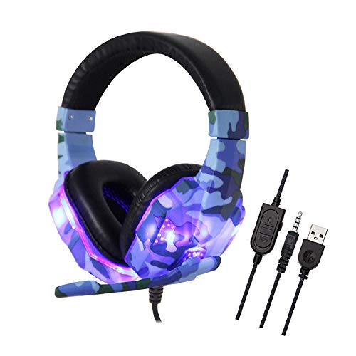 ANYIKE Op het hoofd gemonteerde gaming-headset, USB-bekabelde hoofdtelefoon met 35 mm driver, surround sound en microfoon voor laptop Mac Nintendo Switch-games