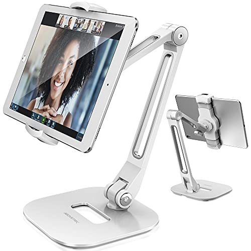 AboveTEK Long Arm Aluminum Tablet Stand, Folding iPad Stand with 360° Swivel iPhone Clamp Mount Holder, Fits 4-11' Display Tablet/Phones for Kitchen Table Bedside Office POS Kiosk Reception White